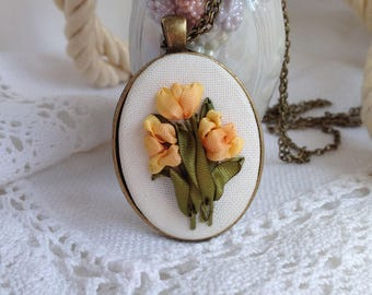 Yellow tulips Yellow pendant Silk ribbons tulips Tulips necklace Embroidered necklace Silk ribbon flowers Embroidered pendant Gift for her