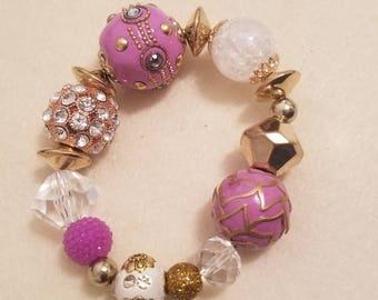 Pink and Gold Stretch Bracelet