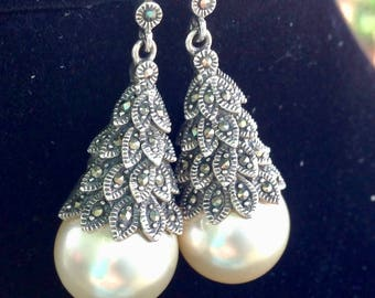 Vintage Art Deco-Inspired Sterling Marcasite Faux Pearl Drop Earrings - Pierced
