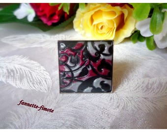"Square ring silver adjustable cabochon (x 1) ""Printed"" black - white - Bordeaux - hand made polymer clay"