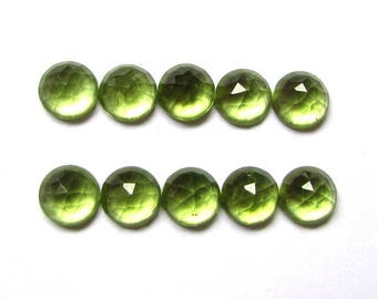 10 pcs Lot 6mm PERIDOT Round Rosecut  gemstone AAA++ Quality 100% Natural 6mm peridot rose faceted cabochon calibrated gems