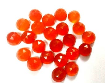 10 pieces 5mm Carnelian Round Rose Cut gemstone, Orange Carnelian RoseCut Round Cabochon Gemstone Carnelian Rose Cut Cabochon Round Gemstone
