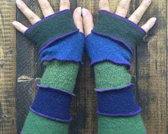 Fingerless Gloves -Made from Recycled Sweaters// Dragon Gauntlets// Upcycled Arm Warmers