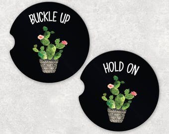 Car Coasters, Cactus Car Coasters, Cup Holder Coaster, Car Coaster Set, Car Accessories for Women, College Student Gift, Sandstone Coaster