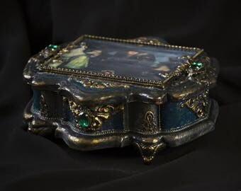 Jewelry box, wooden box,  black wood box, gold box,  decoupage box, baroque, rococo, Gothic box,  luxury box