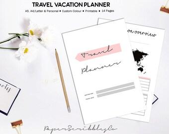Travel Planner, Printable Vacation Planner, Trip Planner, Vacation Organizer, Holiday Planner, Travel Journal, Printable Planner