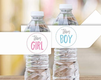 Team Girl Team Boy Printable Water Bottle Labels || Printable Gender Reveal Party Decorations || Gender Reveal Party Ideas (DIGITAL PRODUCT)
