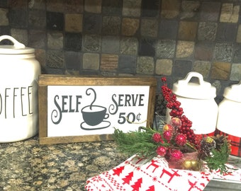 Self serve coffee bar wood sign