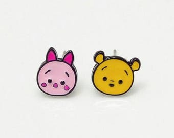 Disney Winnie the pooh and piglet enamelled stud earrings.