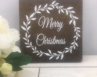 "Merry Christmas Sign-Rustic 9""x 9"" Sign-Merry Christmas Wreath Sign-Holiday Gift-Wood Christmas Sign"