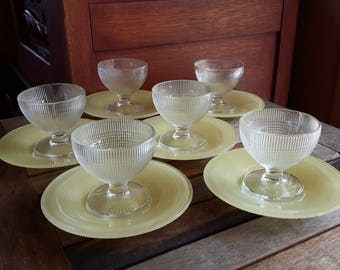 """Vintage Canadian Depression Dominion Glass Saguenay Pattern Clear Glass Sherbets and 6 """"Yellow Saucers / 6 sherbet saucers 6 Saguenay"""