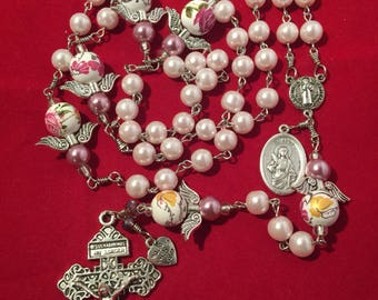 Pink Czech glass pearls St. Benedict rosary, St. lucy medal - handmade