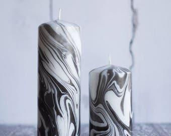Black & White Marbled Pillar Candle.