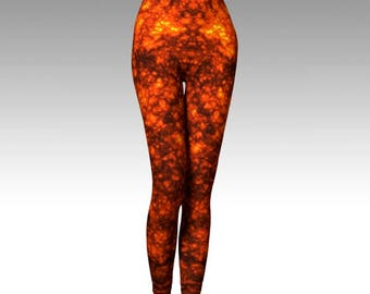 Molten Lava, Lava Leggings, Orange Leggings, Orange Tights, Fiery, Activewear, Printed Leggings, Cosplay Leggings, Women's Leggings, Gift