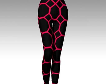 Black Leggings, Pink Leggings, Hot Pink, Geometric Leggings, Premium Leggings, Activewear, Compression Fit, Yoga Pants, Luxury Leggings, Art