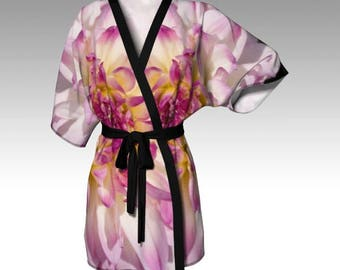 Kimono Robe, Draped Kimono, Dressing Gown, Pink Robe, Spa Robe, Beach Coverup, Bridesmaid Robe, Lounge Wear, Swimsuit Coverup, Women Robe