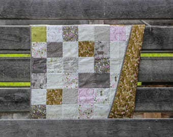 Woodland Quilt | Homemade Baby Quilt | Baby Quilt Handmade | Patchwork Quilt Handmade | Baby Girl Nursery Gift