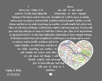 Wedding Vows Art Wedding Vows Print Wedding Vow Canvas Vows Renewal Wedding Vows Framed Vows Wedding Vows Calligraphy His and Her Vows Gift