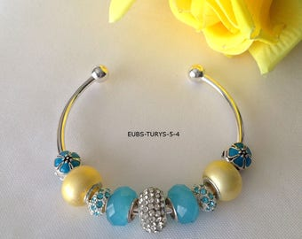 Bright Silver Bangle and Platinum Tone Bracelet with Blue and Yellow European Style Beads