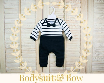 Newborn Babies 100% Cotton bodysuit and Black Biker Jogger 2-Piece Set, Black and White Stripes, Bow Tie, Pull-On Pants