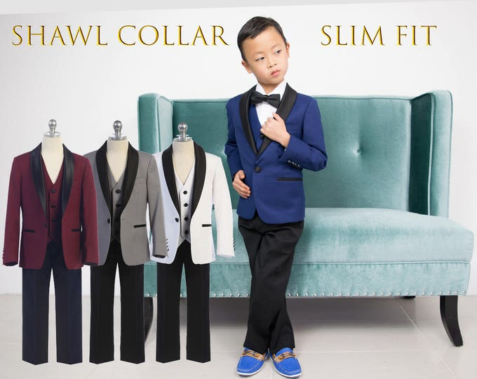 Featured listing image: Slim Fit Premium Boys 3-Piece Suit Tuxedo Shawl Lapel Black Satin, Indigo Blue, Burgundy Maroon, Grey, White, Wedding, Ring Bearer