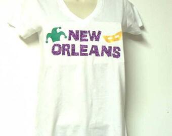 New Orleans shirt - glitter
