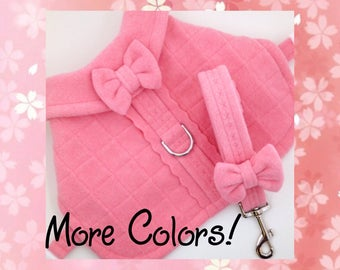 LEASH SET! Pink Quilted Fleece & Bow Dog or Puppy Harness Coat w/ Leash