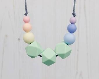 Sensory Silicone Necklace, Teething Necklace, Mum Jewellery, Nursing Necklace, Teething Jewellery, Geometric Jewellery, Pastel Rainbow