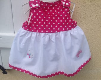 White and pink baby dress