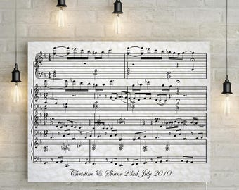 Wool/ 7th Wedding Anniversary Custom Sheet Music - Your Special Song on a Custom Made Canvas, Perfect Gift!