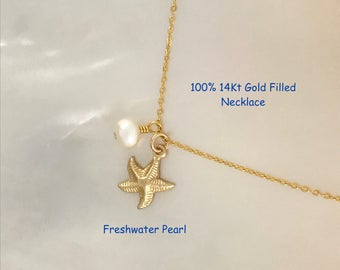 Gold Starfish, Freshwater Pearl, Starfish and Pearl, Summer Necklace, Beach Jewelry, Ocean, 14Kt Gold Filled, Simple, Dainty, Elegant