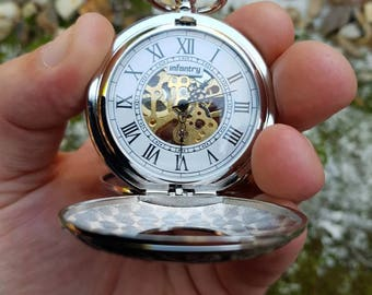 Vintage style twin hunter wind up infantry men's pocket watch in original box as new a fantastic gift idea