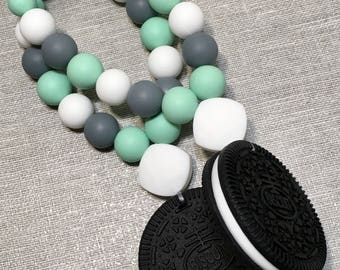 Mint, Grey and White Cookie Carrier Clip