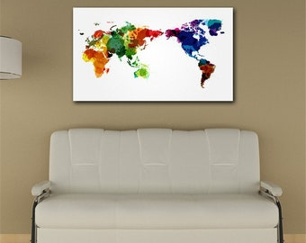 Maps Wall Art, World Map Watercolor, Watercolor World Map, Colorful map, Canvas Map of the World, World Map on Canvas, World Map Artwork