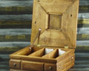 Vintage tea box Ancient tea box Christmas eve box tea Cozy home decor box Herb storage box Wooden Tea Box  Wooden 3 Compartments Jewelry Box