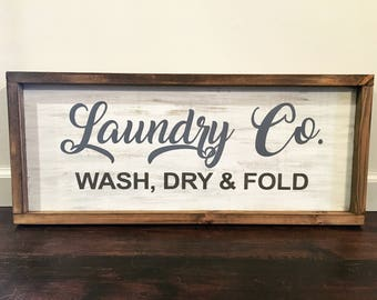 Laundry Sign / Laundry Room Decor/ Rustic Wood Signs / Framed Signs / Wash Dry Fold