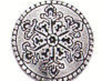 SNOWFLAKE Danforth shank pewter button