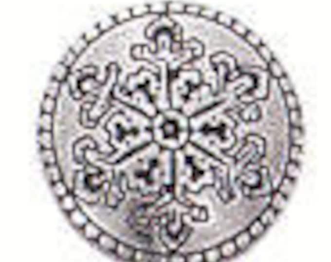 SNOWFLAKE Danforth shank pewter button
