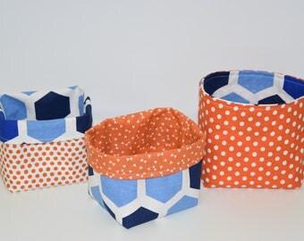 Set of 3 storage baskets / tidy reversible - fabric - geometric - shades blue and orange