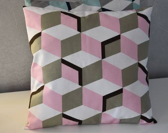 Cushion - 40 X 40 cm - fabric geometric cubes - pink, beige, black and white