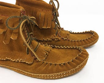 Fringe Moccasins Women / Brown Suede Ankle Boots / Shoes without Heels / Shoes with Fringe / Shoes with laces / Boho Boots Shoes Size 39 40