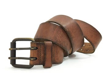 70s Double Prong Leather Belt Men Women size 36 38 / Vintage 1970's Two Prong Buckle Belt Russet Sepia Brown Leather 91 97 / Distressed Belt