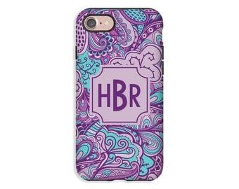 iPhone 7/7 Plus case, iPhone X case, floral flourish iPhone 8/8 Plus case, monogram iPhone case, iPhone 6s Plus/6s/6 Plus/6 cases