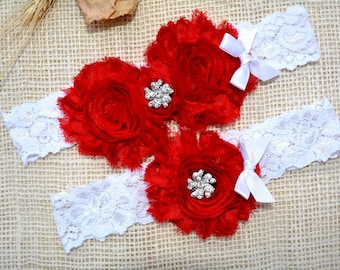 Red Wedding Garter, Valentines Day Gift, Garter Set, Bridal Clothing, Garter For Wedding, Garter For Brides, Lace Garter Red, Keep Garter