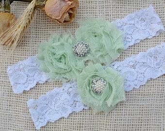 Pale Green Garter, White Garter Set, Lime Green Garter, Mint Keep Garter, Bridal Garter Set, White Wedding, Choose Rhinestone, Pearl Garter