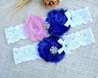 White Blue Garter, Pink Blue Garter, Glitter Garter Set, Blue Bridal Set, Somethig Blue, Garter For Wedding, Garter Set, Royal Blue Garter