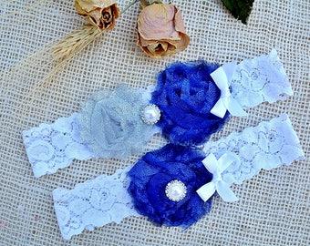 Glitter Blue Garter, White Garter Grey, Pearl Cristal Garter, Grey Wedding Garter Set, Something Blue, Blue Garter Set, Sapphire Blue Garter