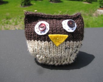 Whimsical Knit Owl, Stuffed Bird/Animal, Brown and Beige