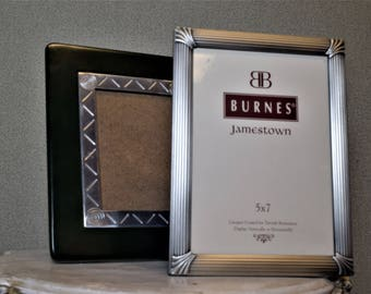 Set of Two Photo Frames 5x7 Silver and Black