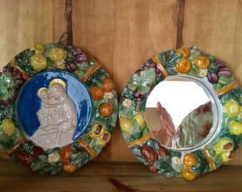 Biordi majolica plate and mirror with Madonna & child